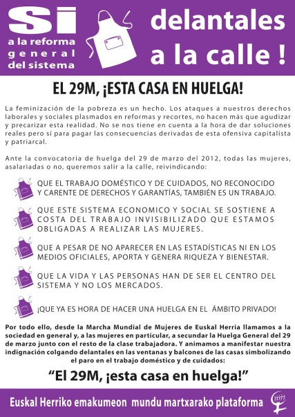 Huelga cuidados 29m Euskal Herriko Emukameon mundu martxarako plataforma